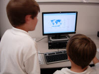 Students use Google Maps to locate their homes.