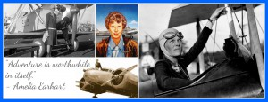 Collage of Amelia Earhart