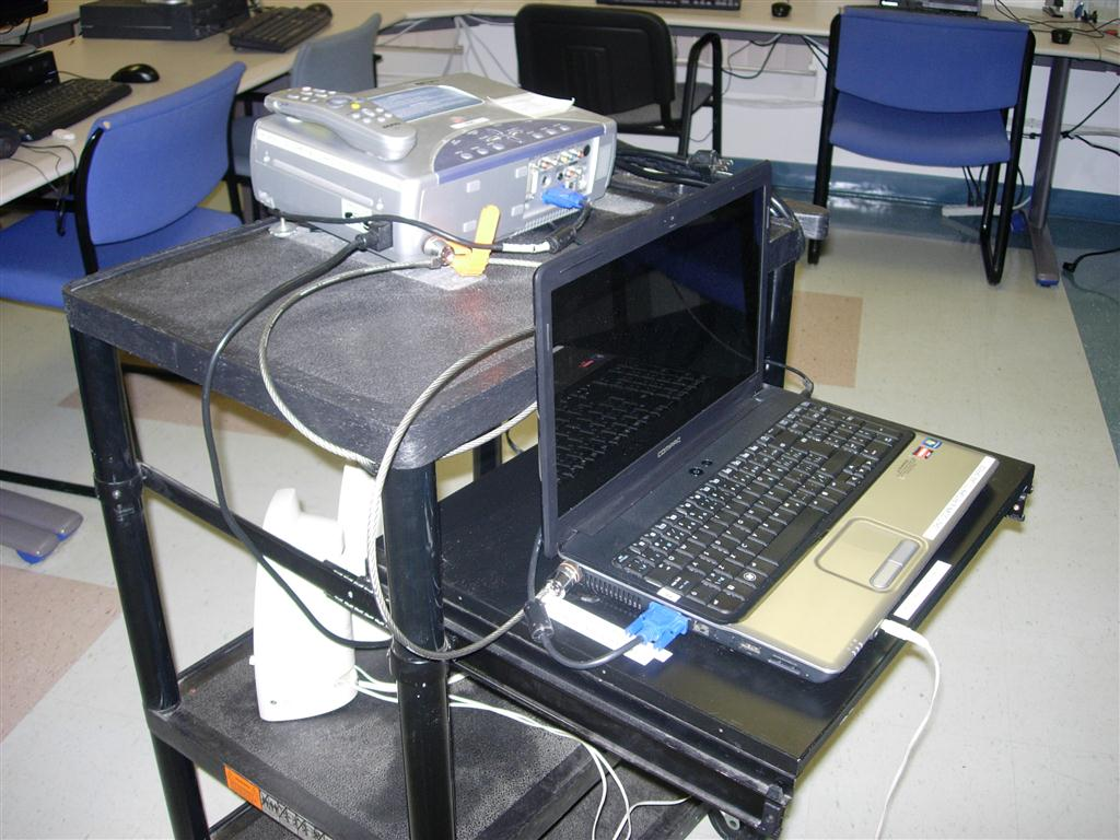 A picture of a mobile computer cart.