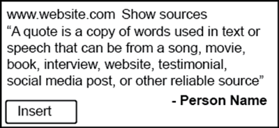 Use Google Docs to add a quote.
