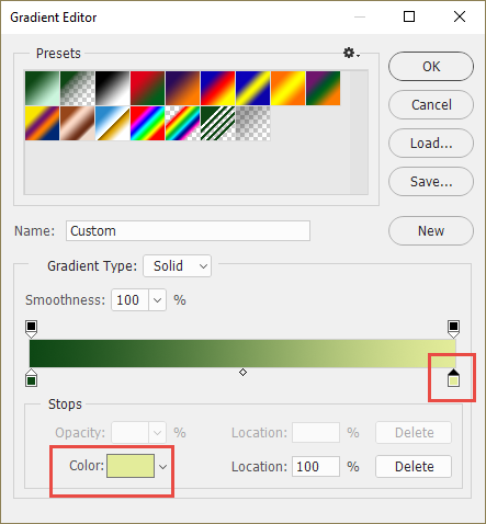 adjust the color of a gradient map stop
