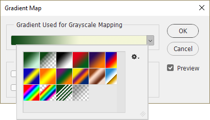 Pick a preset for the gradient map.