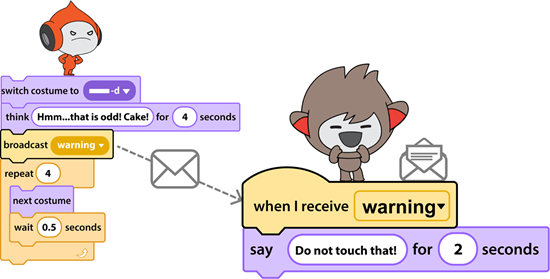 broadcast a message in scratch