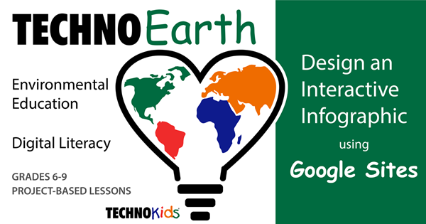 TechnoEarth shows students how to use Google Sites to design an interactive infographic.