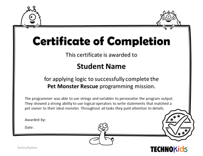 Python Programming Mission certificate