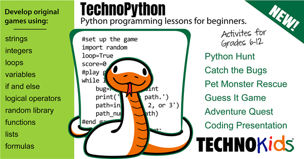 TechnoPython has Python lessons for beginners,