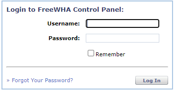 control panel log in