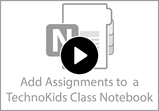 Watch the video to learn how to add assignments to a TechnoKids Class Notebook.