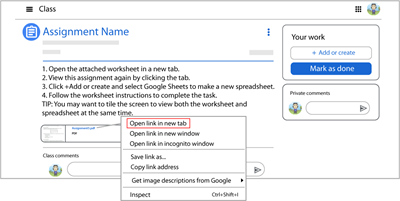 open worksheet in a new tab