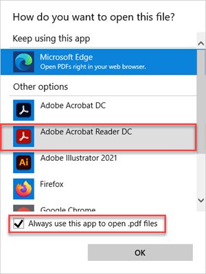 Set the program default for PDFs