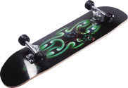 blue skateboard on side